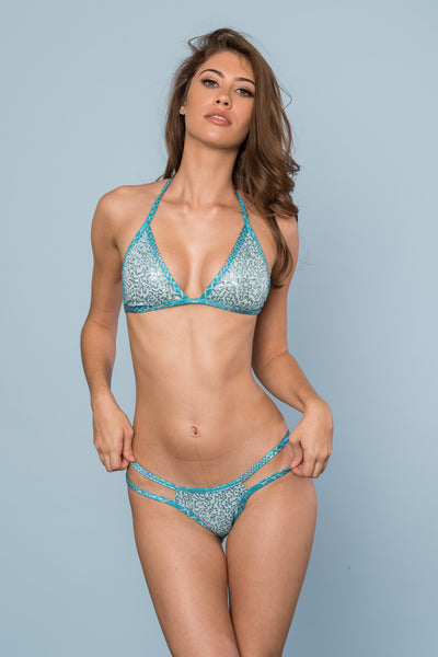 2017 Turquoise Snake Sequin Multistring Pool Party Bikini/Micro Cheeky