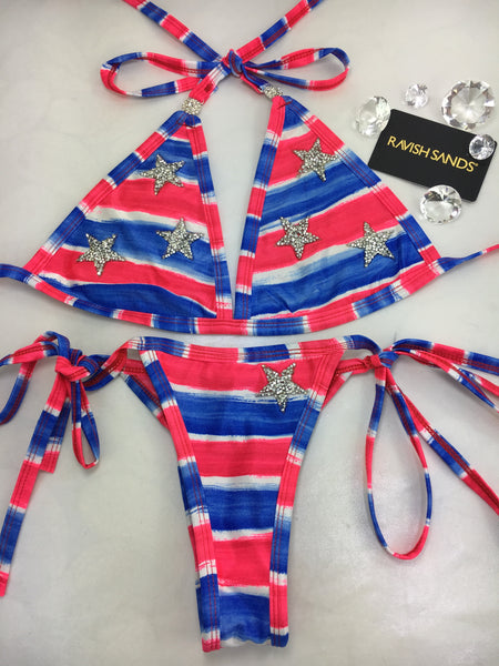 Custom Flag, Stars, Fourth of July tie string***(SUIT SOLD PER PIECE OR SET, price varies)