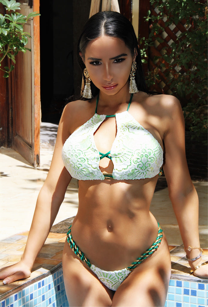 2017 Green/Gold/White Lace Sporty Halter Bikini A-DD Cup Sizes/Micro Cheeky (Natasha)