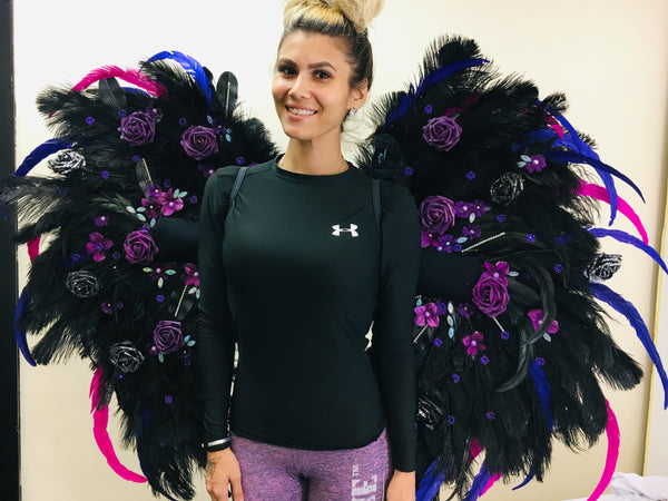 Custom Theme wear Wings WITH EMBELLISHMENT/Floral *any color combo  (mid size)