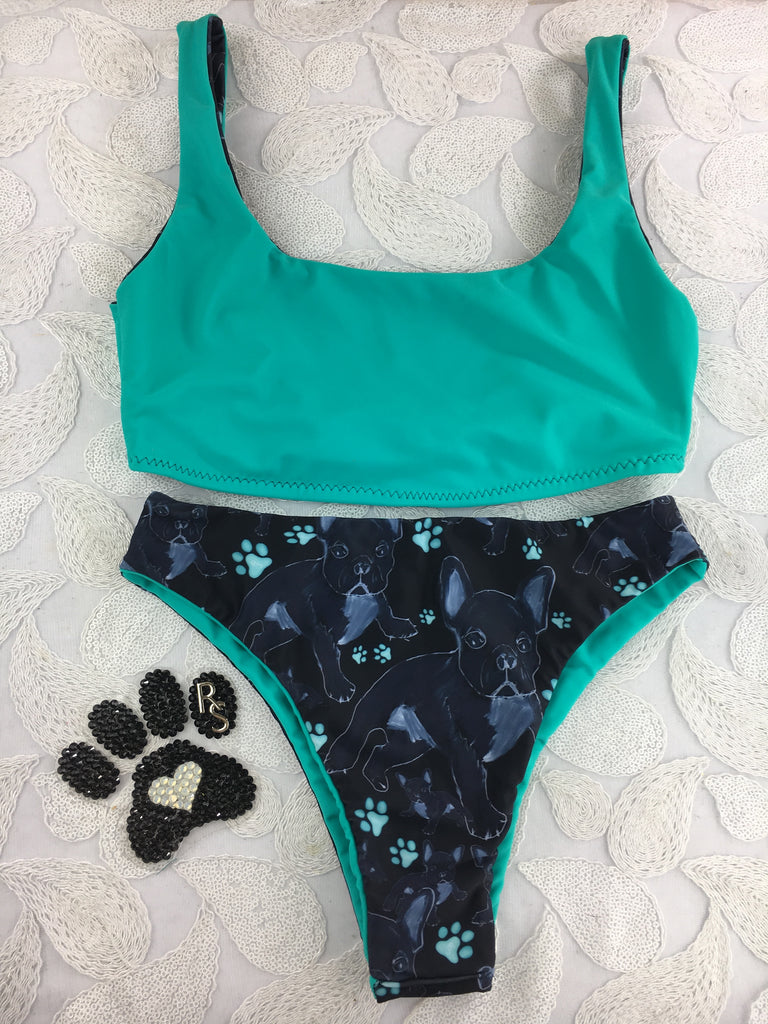 Custom 4:1 Frenchie Seamless Plunge neck Bralette and Highwaisted no scrunch butt(reversible)