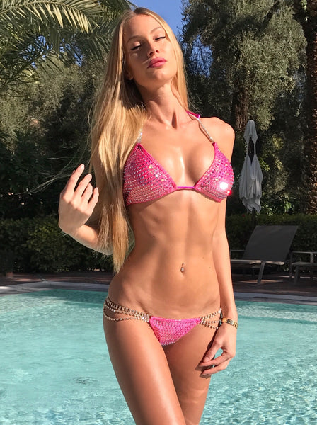 Custom Bling Bombshell Celebrity 1ab colored crystal (Taylor) Competition Bikini