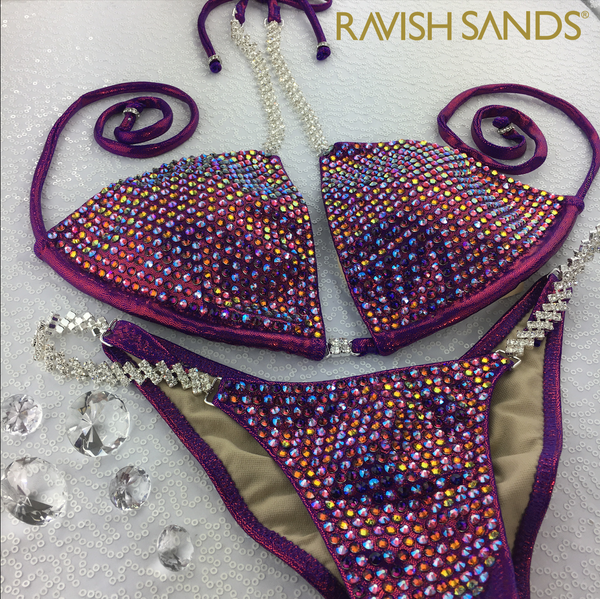 Quick View Competition Bikinis Cranberry Bombshell Bling Luxe Swarovski Crystals