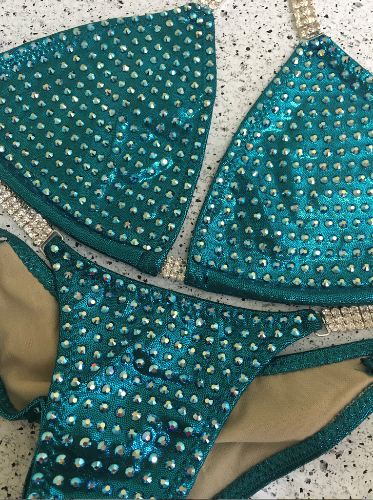 Quick View Competition Bikinis Teal Bling Bombshell Celebrity