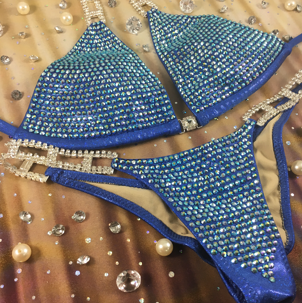 Quick View Competition Bikinis Blue Bombshell Bling Luxe Swarovski Crystals