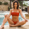 2019 Red Seamless Strapless Bikini Midcoverage Cheeky (Hope/Katy)Quickship