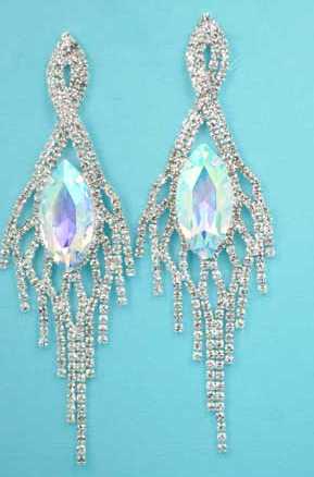 Clear Aurora Borealis Silver Center Marquise Stone Dancing Rows 3.3