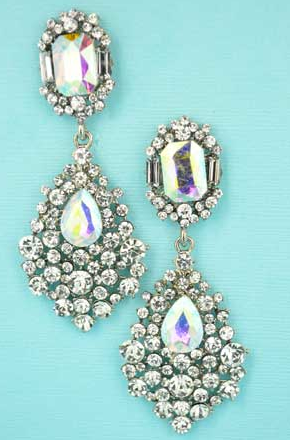 AB Clear Silver Emerald/Pear Stone Marquise Cluster Earring
