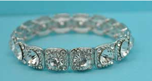 Clear/Silver One Row Round Stone Square Stretch Bracelet
