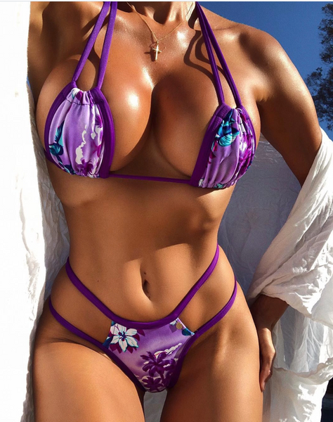 Custom Signature Top and Multistring Peekaboo bottoms Purple Floral (any color request welcome) ***(SUIT SOLD PER PIECE OR SET, price varies)