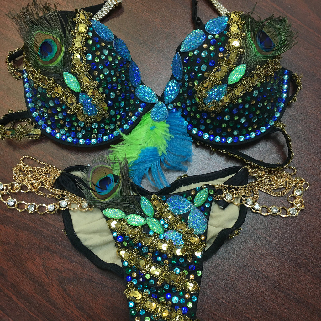 Custom Peacock Themewear with wings $899 or bikini only $599
