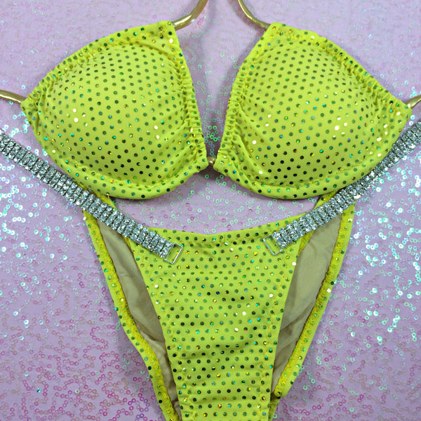 Yellow Sequin Dot BRAZILIAN Cheeky Quickship