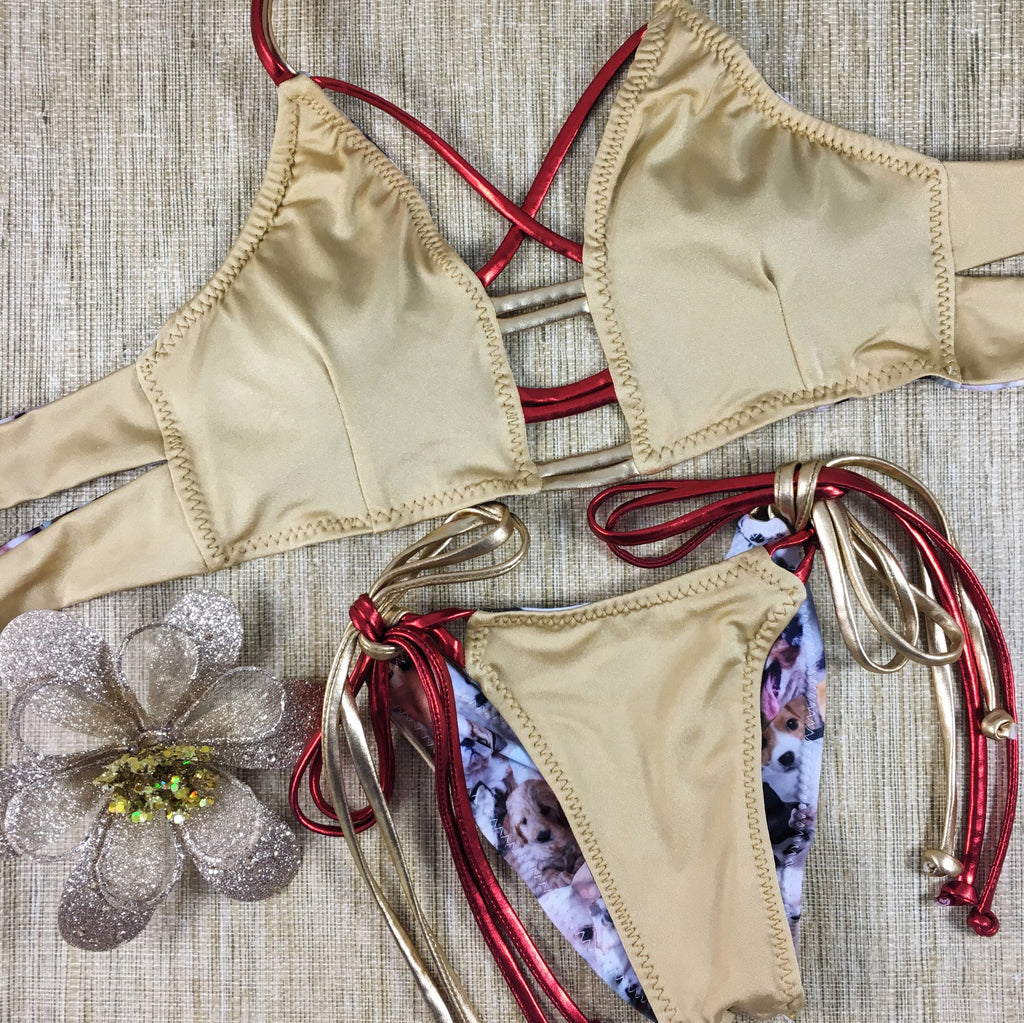 2017 Gold/Red Puppies 4:1  Flip It Reversible Tie String Bikini Micro Cheeky