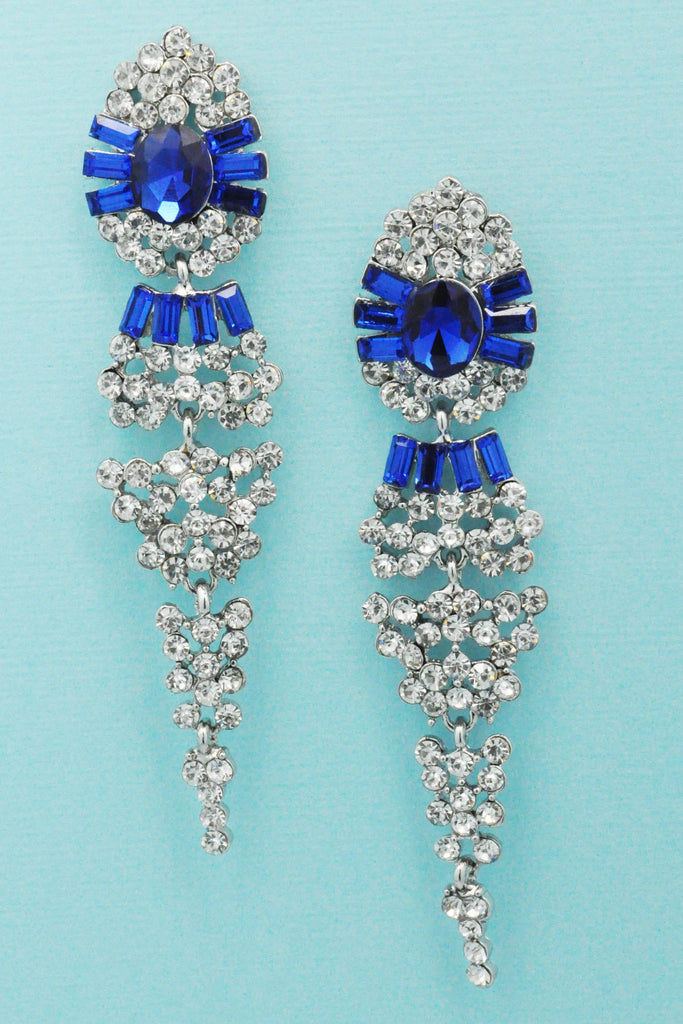 Sapphire/Clear Silver Center Oval Stone Pointed 3'' Dangle Post Earring