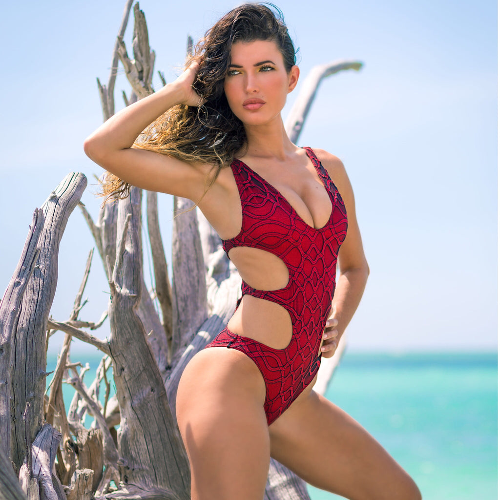 Custom Lace CutOut one Piece (red/black/or blue combos available)