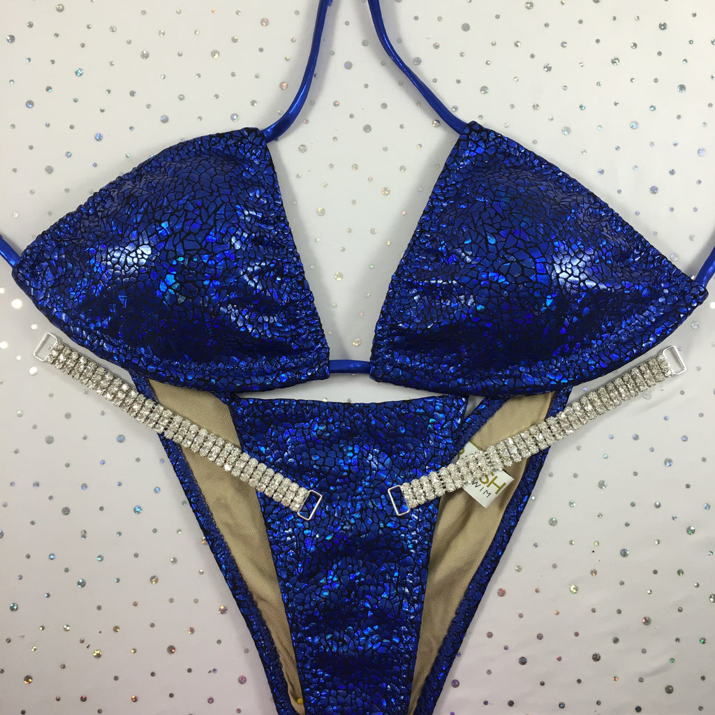 Royal Blue Snake Brazilian Cheeky Quick Ship Platinum Bling Exclusive