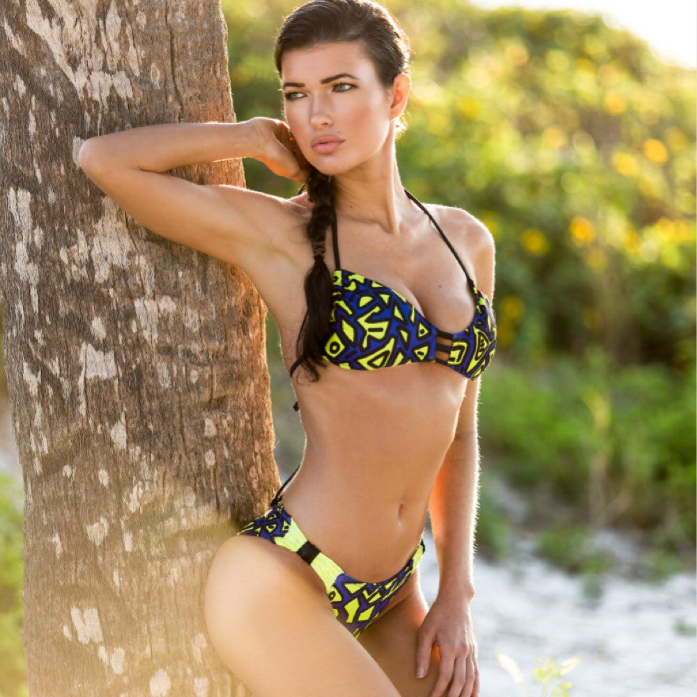 Custom Navy/yellow Print Bow Bikini***(SUIT SOLD PER PIECE OR SET, price varies)