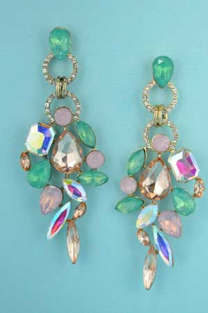 Multi color Mint/Pink/Gold Earrings 2.5
