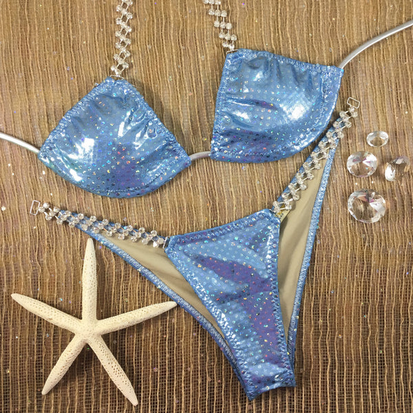 Powder Blue Sequin (Connector #43) MIDCOVERAGE Cheeky
