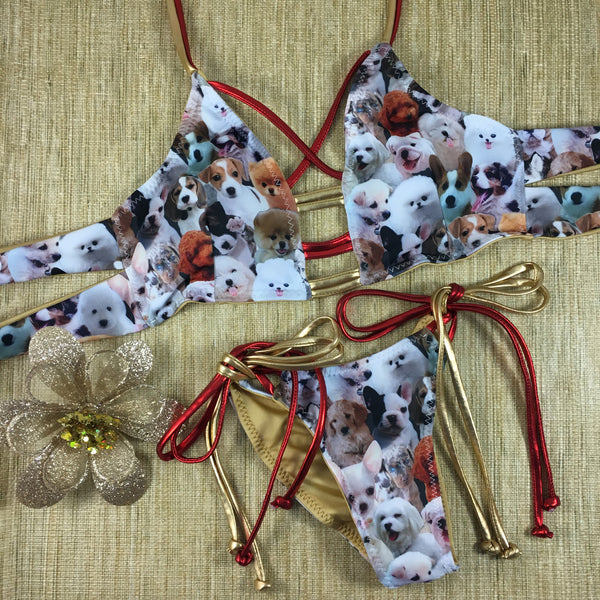 Gold/Red Puppies 4:1 Flip It Reversible Bikini A-DD Cup Sizes/Micro Cheeky