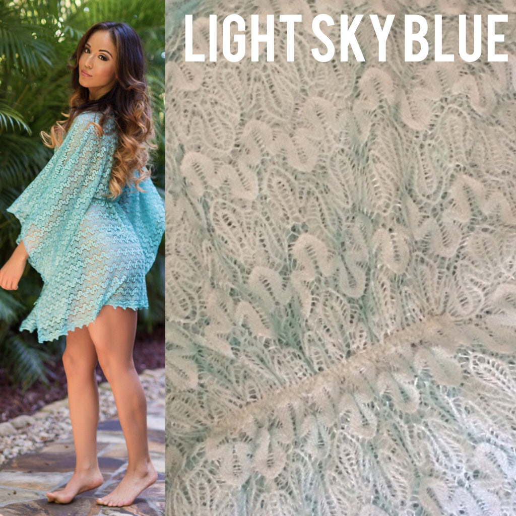 Quick ship Light Sky blue crochet lace butterfly Cover Up
