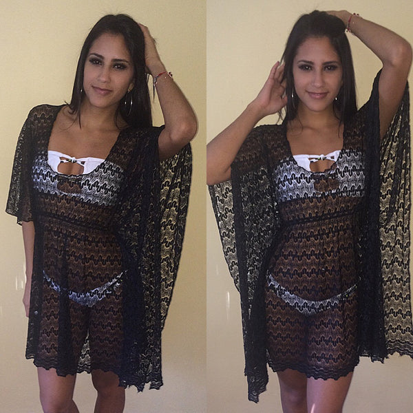 Quick ship black crochet lace butterfly Cover Up