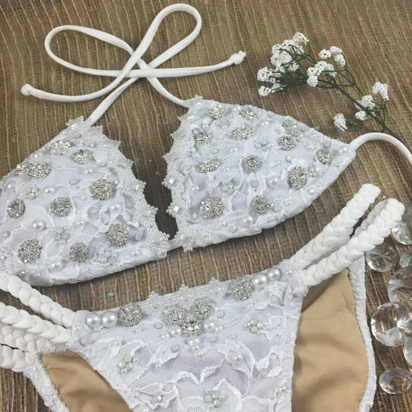 Custom Wedding Bikini (Push Up Padding included) (braid or band option!!!) Bride/Honeymoon***(SUIT SOLD PER PIECE OR SET, price varies)