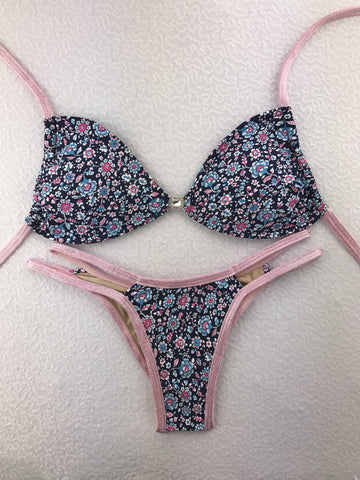 2018 Blue Pink Sparkle Floral Multistring Bikini Micro Cheeky (Hope)