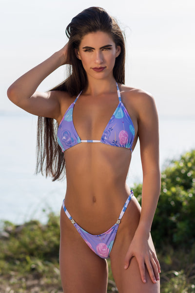 2019 Cotton Candy Purple Bikini with crystal connectors Brazilian Cheeky(we size bottoms to your measurements)Quickship