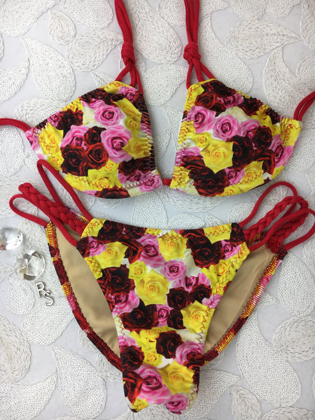 Red Multicolor Roses Multistring Bikini Midcoverage Cheeky