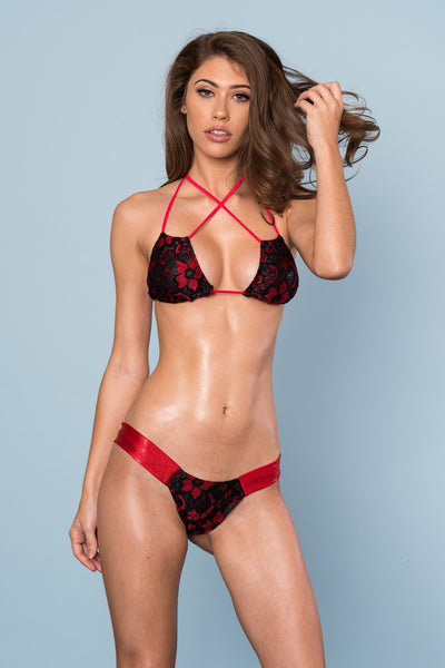 2017 Red/Black Floral Lace Band Bikini Midcoverage cheeky
