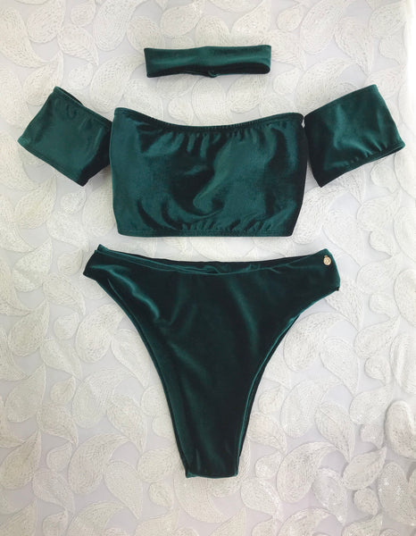 2018 Forest Green Velvet Bombshell Off the Shoulder Seamless Highwaisted Bikini w/choker Brazilian NO Cheeky