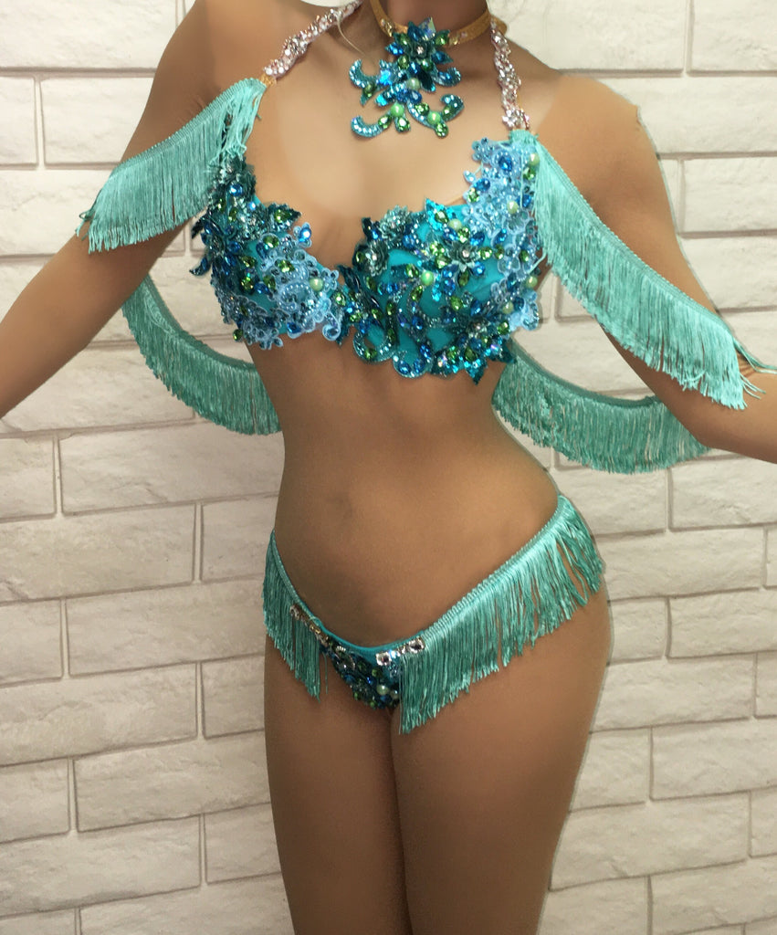 (Can be other color variations but supplies may vary***Mint Fringe Custom Themewear with wings $1250 or Bikini only $645 *Choker included