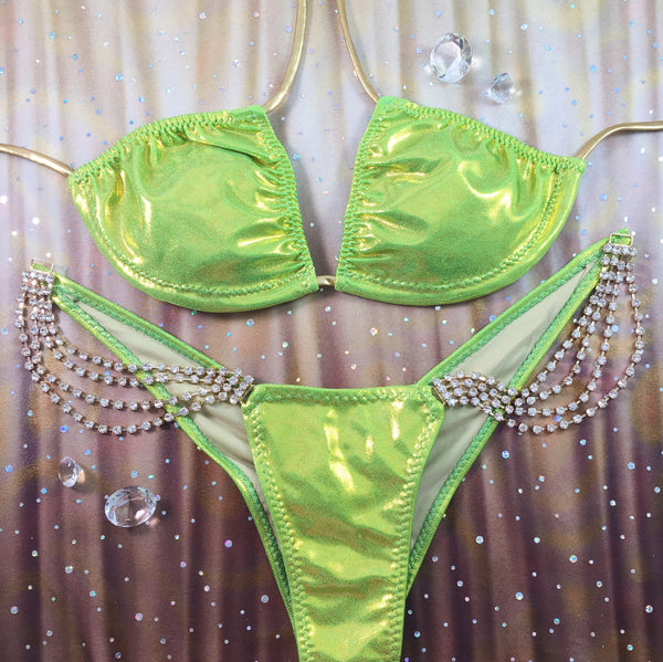 Lime Green/Gold Metallic(4 tier gold dangle connector)MIDCOVERAGE Cheeky