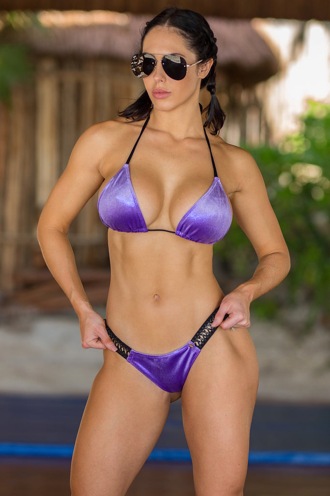 2018 Purple Velvet Band Bikini Midcoverage cheeky Quickship (Abby/hope)