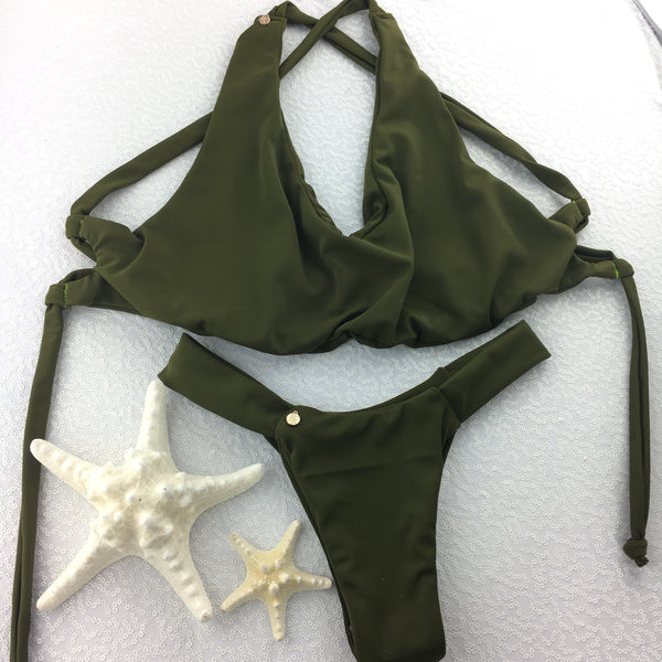 Custom Seamless Olive Army Green  lace back bikini
