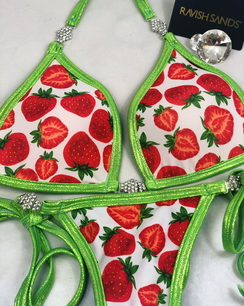 Custom Strawberry tie string posing bikini w/Embellishment $139.99 (molded cup top)