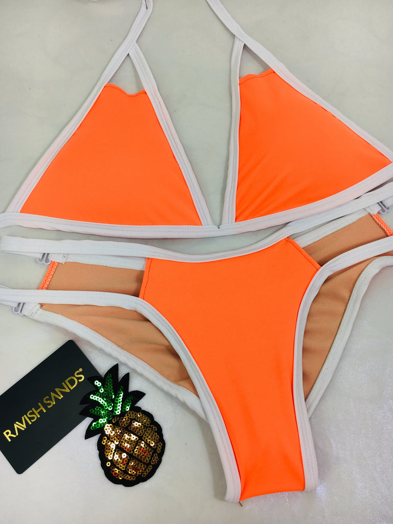 Neon color block  Custom Signature Top and Multistring Peekaboo bottoms (any color request welcome) ***(SUIT SOLD PER PIECE OR SET, price varies)