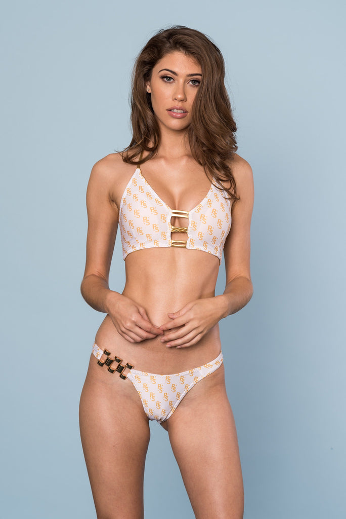 2017 White/Gold Ravish Exclusive Monogram Bikini 2:1 Flip It A-DD Cup Sizes/Brazilian Cheeky