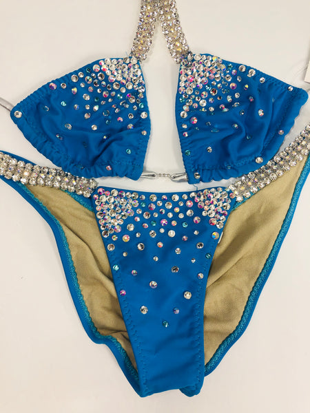 Ocean Blue Bubbles Diamond Princess A Cup Top / Midcoverage cheeky (we size bottoms to your measurements)