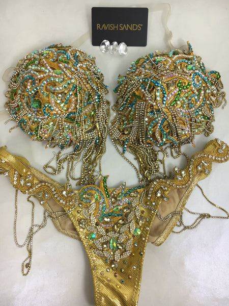 WBFF Rental Goddess Gold Bikini Push Up Bra/Brazilian Cheeky