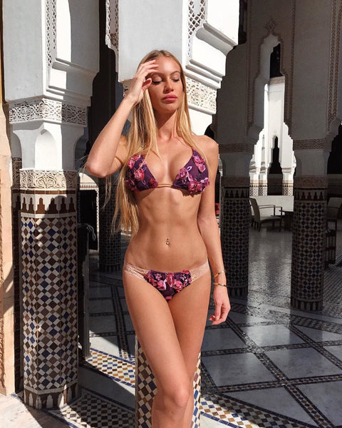 2018 Burgundy Embroidered Lace Band Bikini/Midcoverage Cheeky (Taylor)