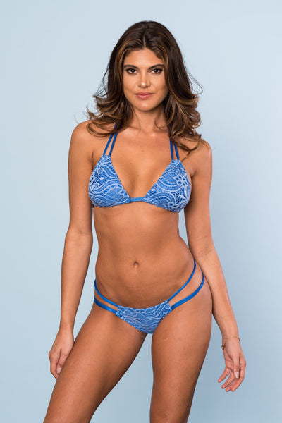 2017 Blue Sparkle Lace Multi String Bikini Signature Top/Midcoverage Cheeky
