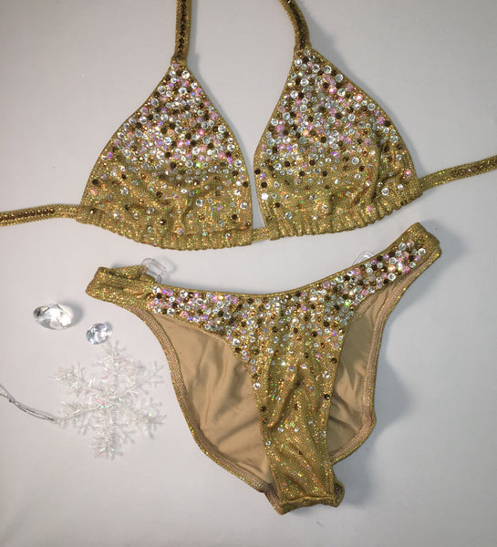 Figure Suit Quick Ship - Gold S.G. Bubbles Diamond Princess A/B cup top Pro front/Pro Plus butt