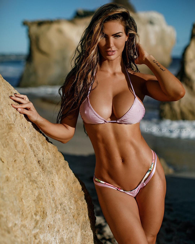 Lavendar Floral Reversible Bikini 2:1 Flip It Brazilian Cheeky (Katelyn Runck)