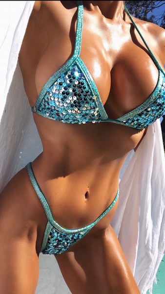 2017 Sparkle Jade Sequin Pool Party Bikini Micro Cheeky (Abby)