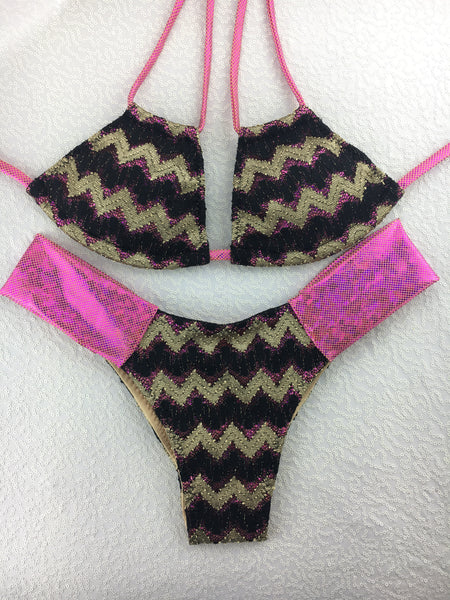 2017 Gold Black Fuchsia Band Bikini Micro cheeky(provide height and weight to size bottoms accordingly).