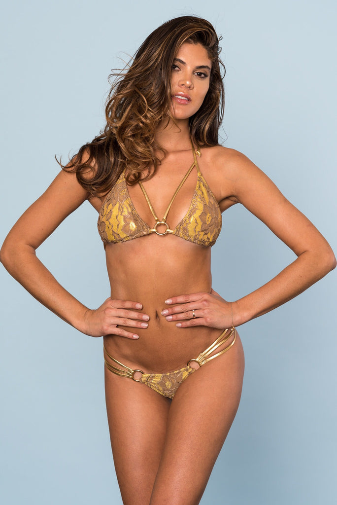 2017 Gold/Bronze Lace Loop Bikini A-E Cup Sizes/Micro Cheeky (we size bottoms to your measurements)