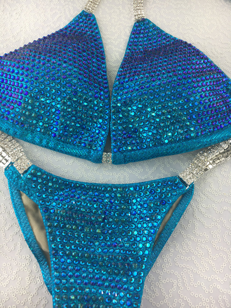 Custom Bombshell Bling Luxe w/ALL special order (2tone crystal) color upgrade Competition Bikini