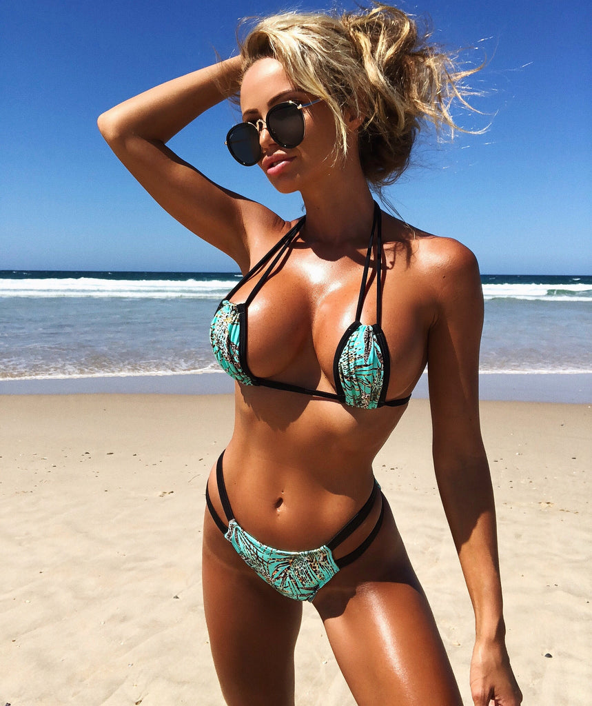 2018 Quickship Leopard Mint Palms Multistring Bikini Midcoverage Cheeky (Abby)